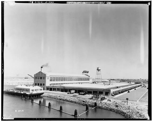 Jun 5, 1936, EXTERIOR-FORD ASSEMBLY PLANT AT LONG BEACH, OVERALL VIEW OF PLANT FROM THE HENRY FORD BRIDGE, CERRITOS CHANNEL IN THE FOREGROUND